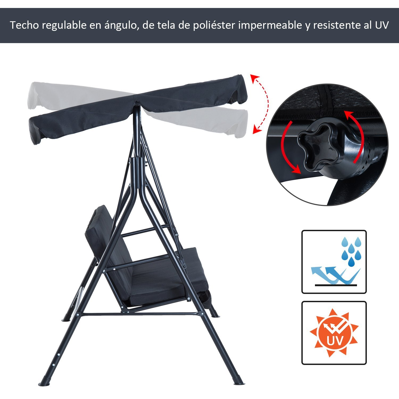 Columpio-de-Jardin-tipo-Balancin-de-Metal-3-Plazas-con-Cojin-y-Toldo-Regulable miniatura 27