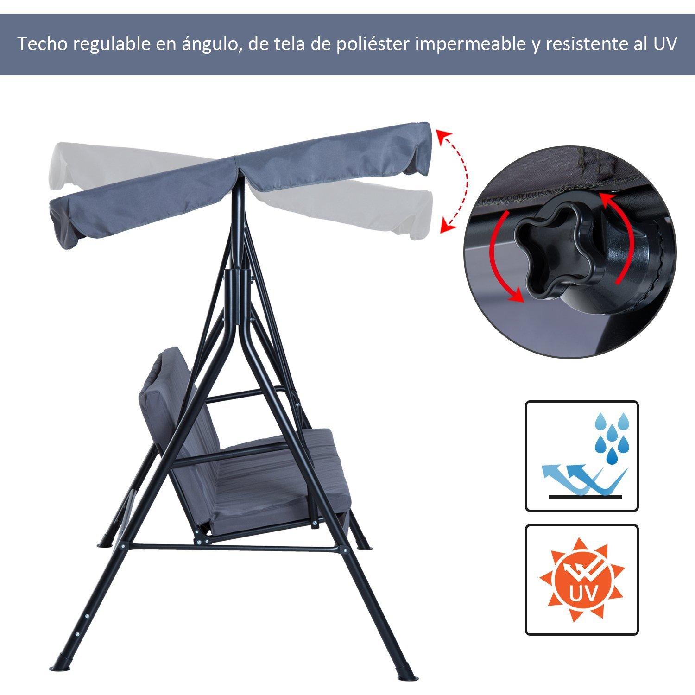 Columpio-de-Jardin-tipo-Balancin-de-Metal-3-Plazas-con-Cojin-y-Toldo-Regulable miniatura 4