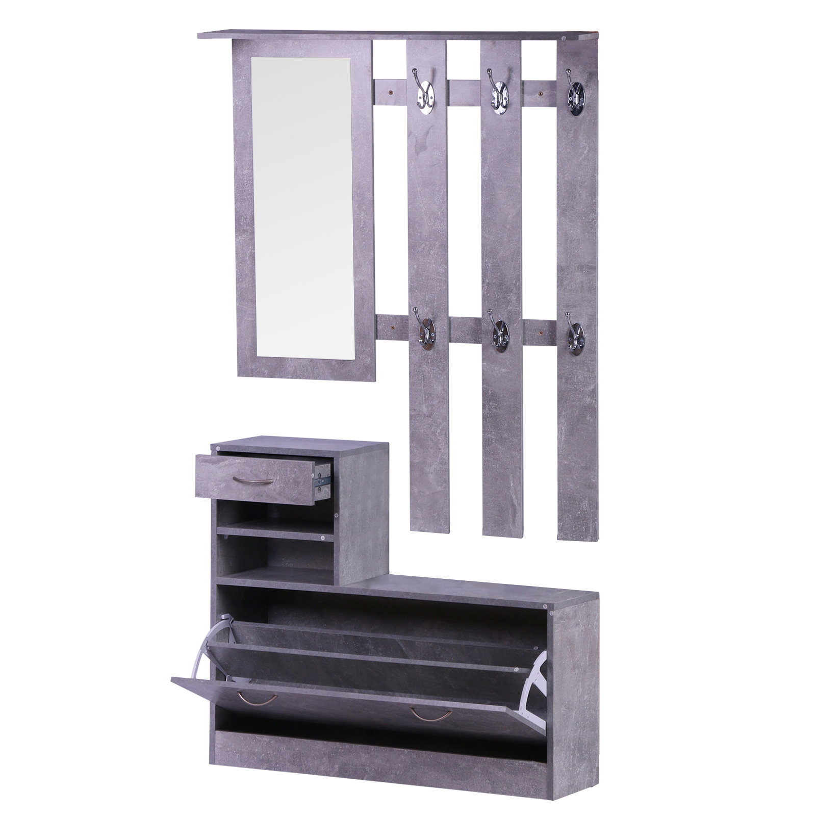 831 146gy(1) - Conjunto Muebles de Entrada Recibidor Pasillo 3 Piezas Perchero Espejo Zapatero