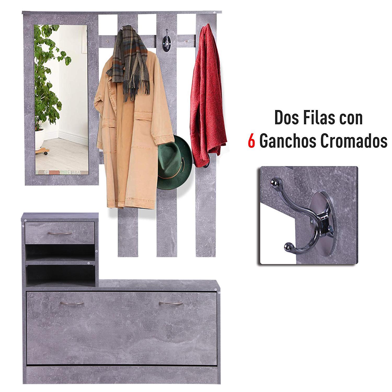 831 146gy(5) - Conjunto Muebles de Entrada Recibidor Pasillo 3 Piezas Perchero Espejo Zapatero