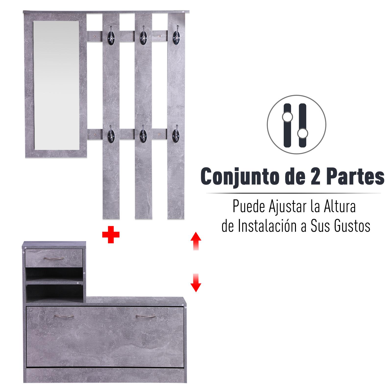 831 146gy(6) - Conjunto Muebles de Entrada Recibidor Pasillo 3 Piezas Perchero Espejo Zapatero