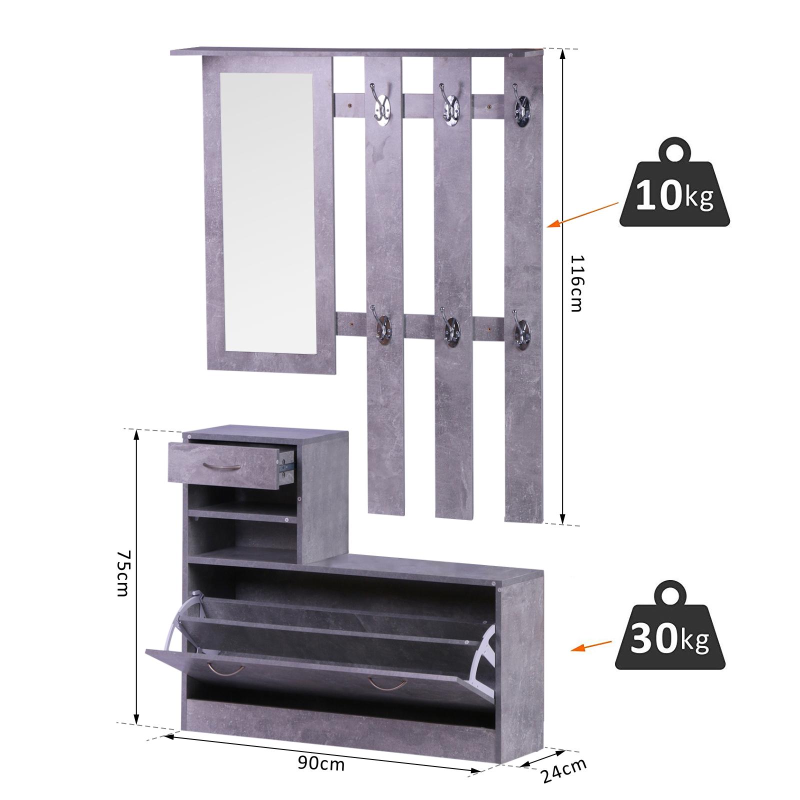 831 146gy(8) - Conjunto Muebles de Entrada Recibidor Pasillo 3 Piezas Perchero Espejo Zapatero