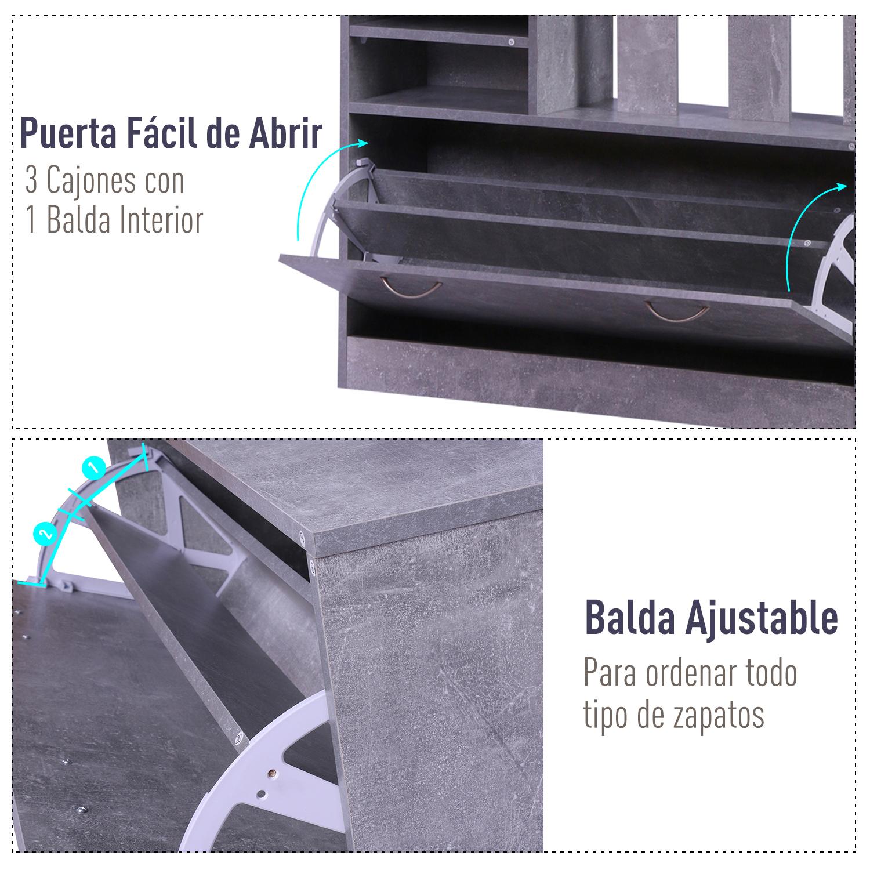 831 146gy11(9) - Conjunto Muebles de Entrada Recibidor Pasillo 3 Piezas Perchero Espejo Zapatero