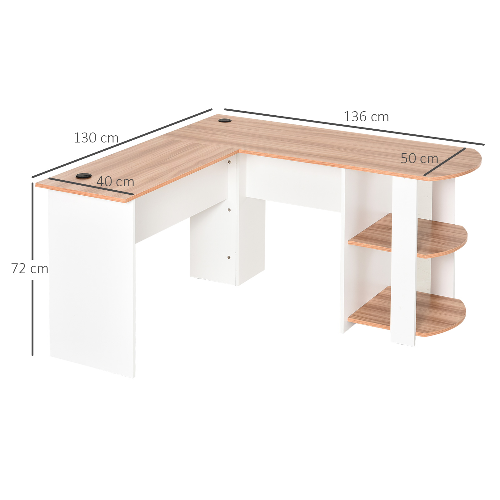 Mesa-de-Ordenador-PC-Escritorio-para-Oficina-Hogar-Esquinera-Forma-L-Madera miniatura 20