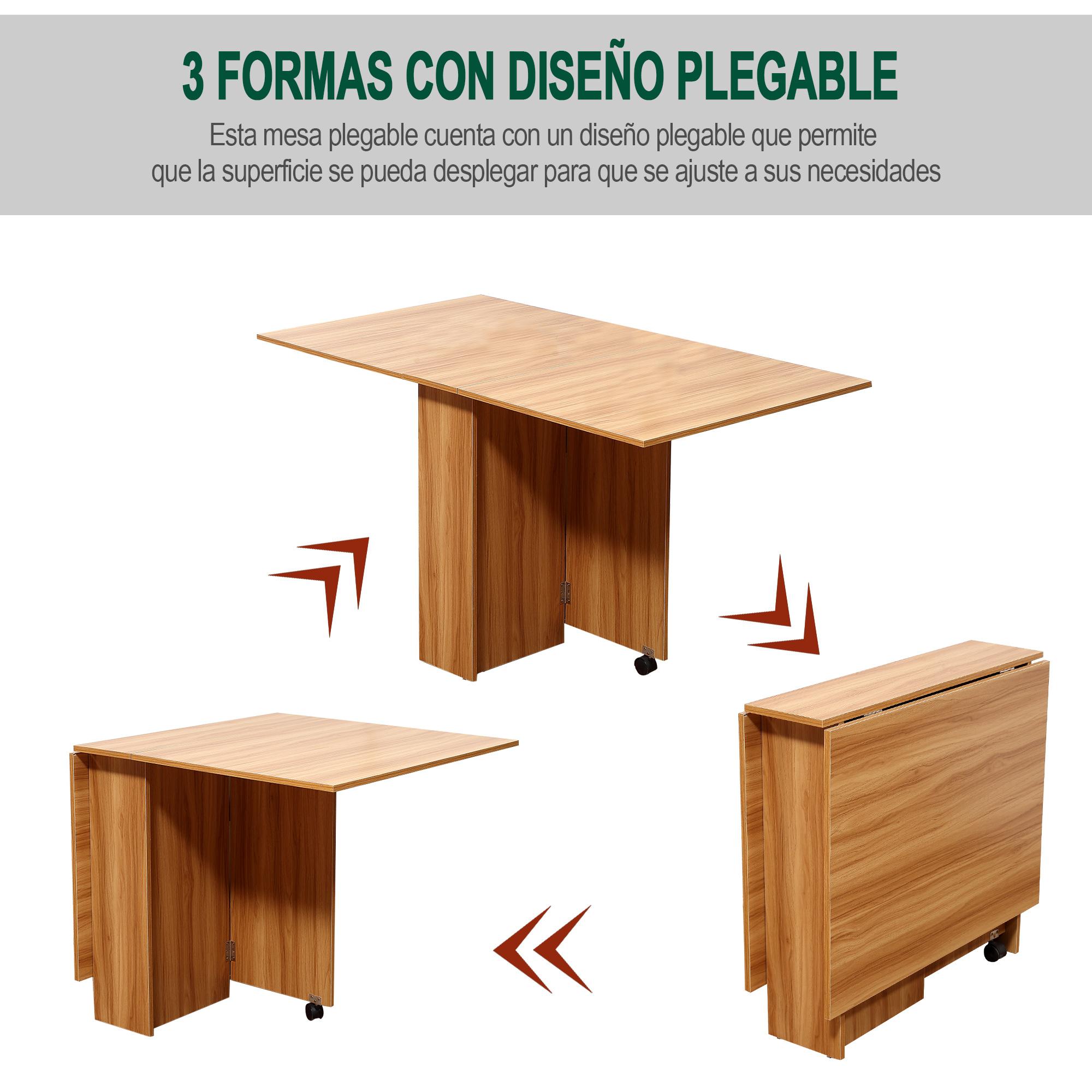 Homcom Mesa Plegable con Ruedas Estante Multifuncional para Comedor ...