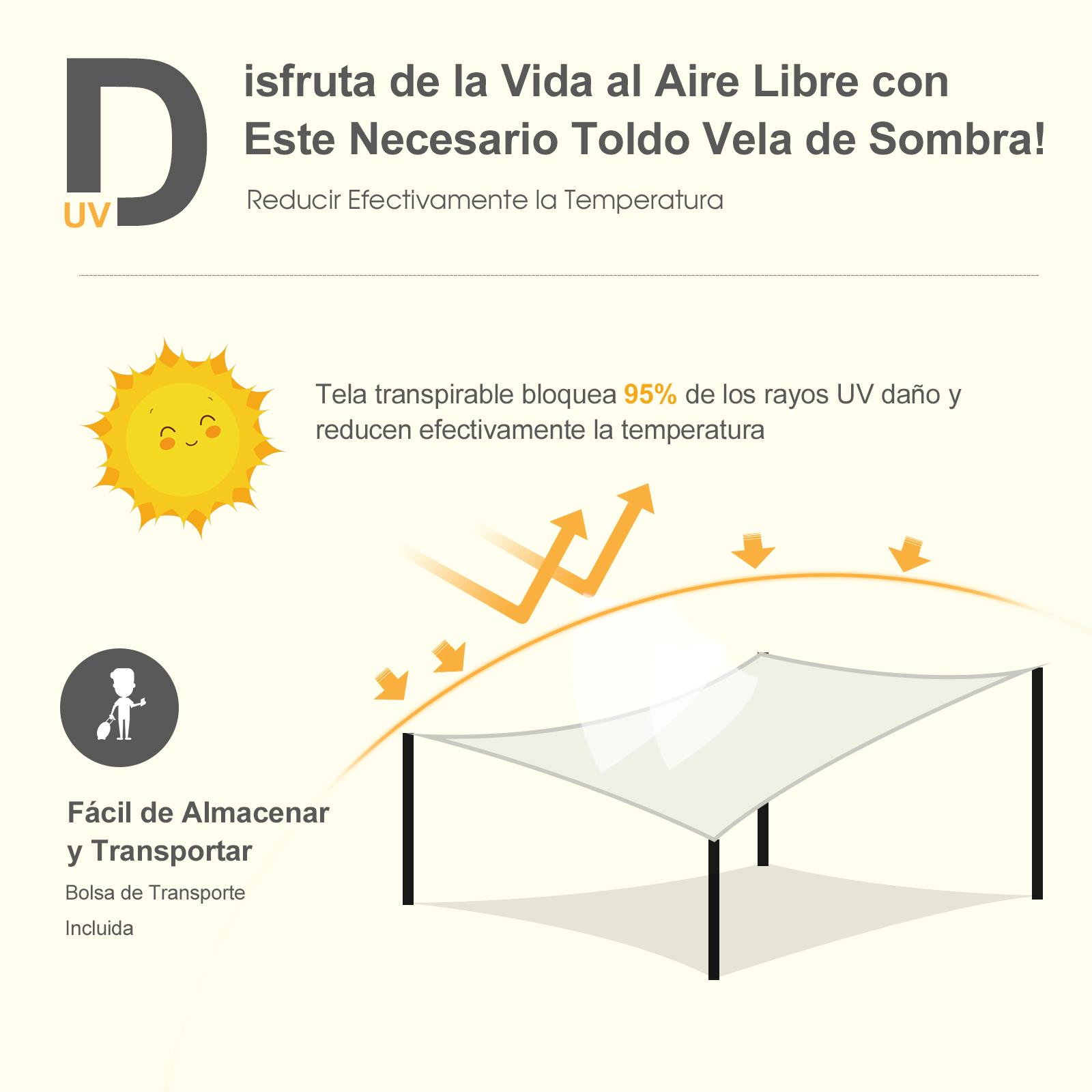 Toldo-de-Vela-Rectangular-para-Jardin-y-Exterior-Repelente-al-Agua-Proteccion-UV miniatura 14