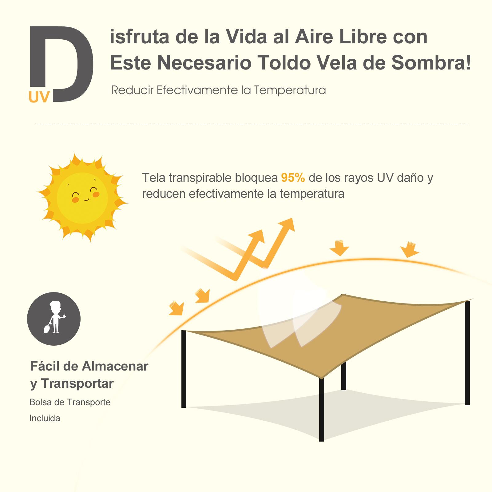 Toldo-de-Vela-Rectangular-para-Jardin-y-Exterior-Repelente-al-Agua-Proteccion-UV miniatura 4