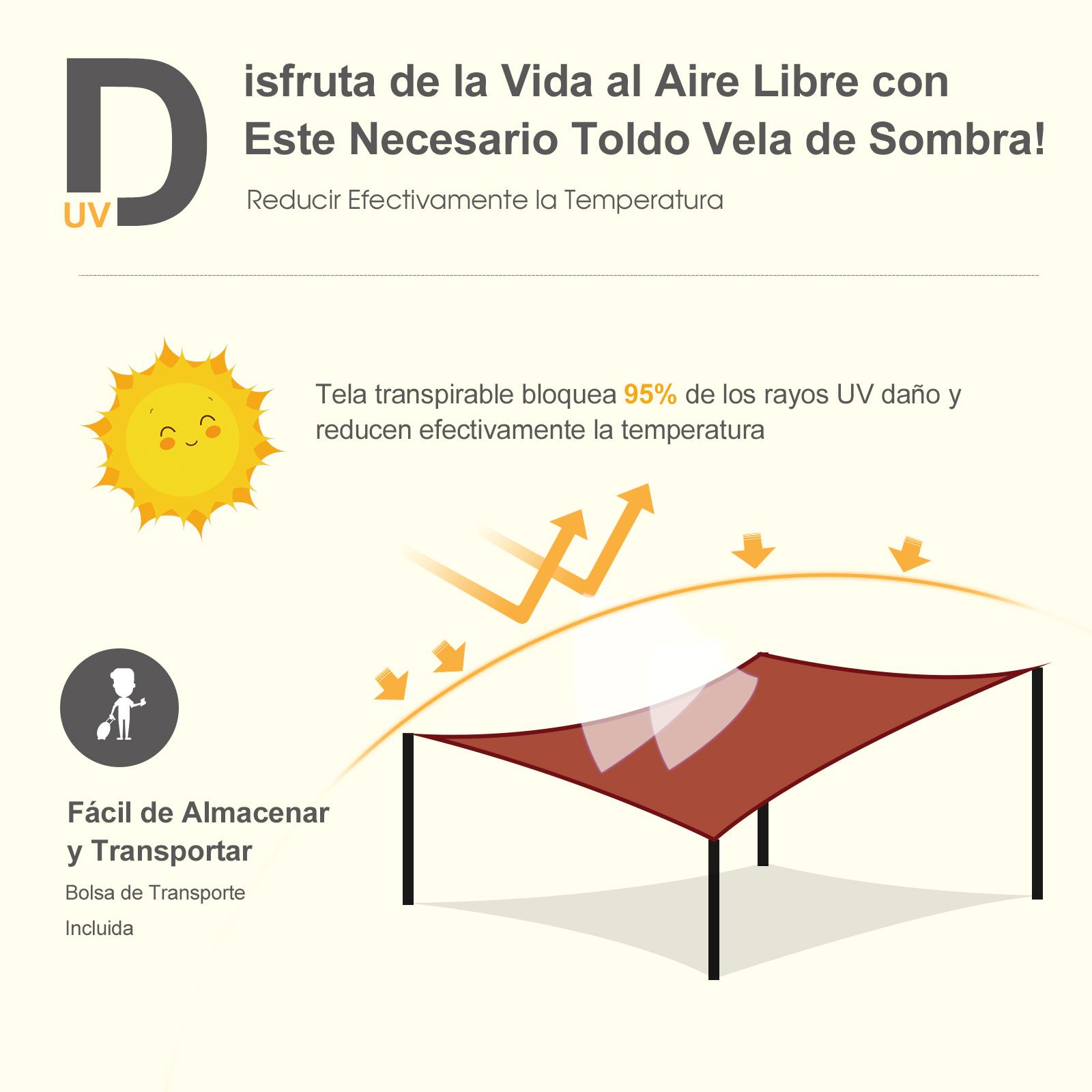 Toldo-de-Vela-Rectangular-para-Jardin-y-Exterior-Repelente-al-Agua-Proteccion-UV miniatura 22