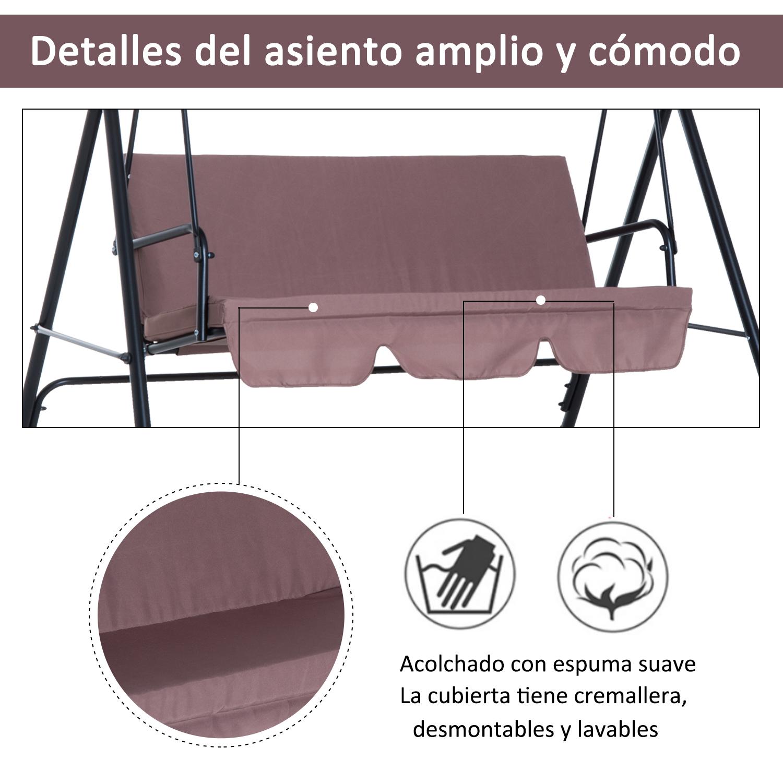 Columpio-de-Jardin-tipo-Balancin-de-Metal-3-Plazas-con-Cojin-y-Toldo-Regulable miniatura 16