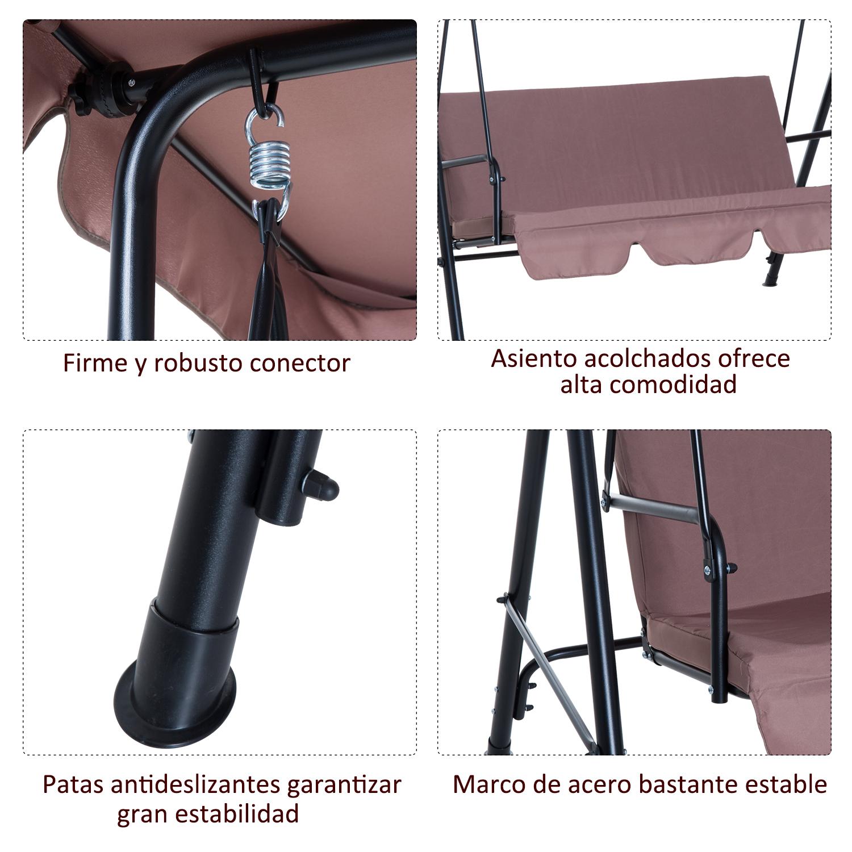 Columpio-de-Jardin-tipo-Balancin-de-Metal-3-Plazas-con-Cojin-y-Toldo-Regulable miniatura 17