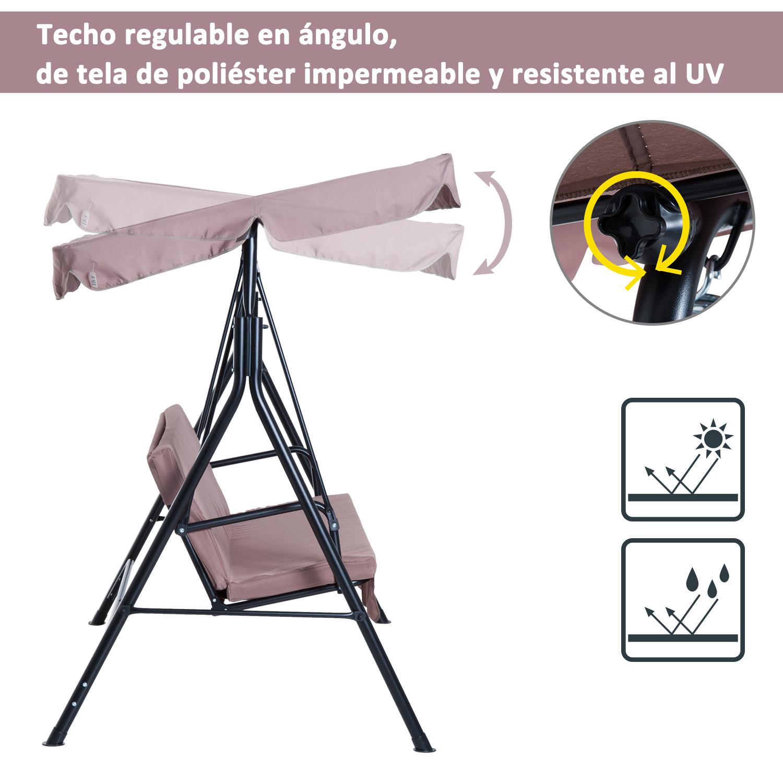 Columpio-de-Jardin-tipo-Balancin-de-Metal-3-Plazas-con-Cojin-y-Toldo-Regulable miniatura 18