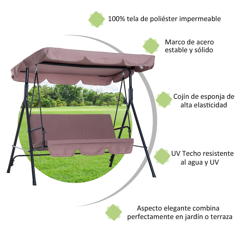 Columpio-de-Jardin-tipo-Balancin-de-Metal-3-Plazas-con-Cojin-y-Toldo-Regulable miniatura 19