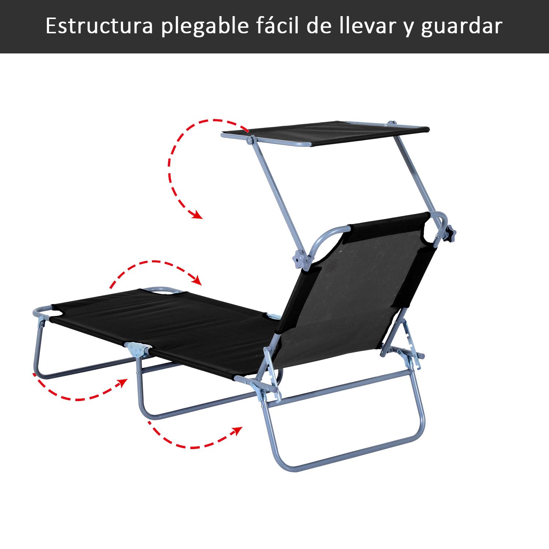 Tumbona-Inclinable-Aluminio-Plegable-Hamaca-Playa-Piscina-con-Parasol-NUEVO miniatura 26