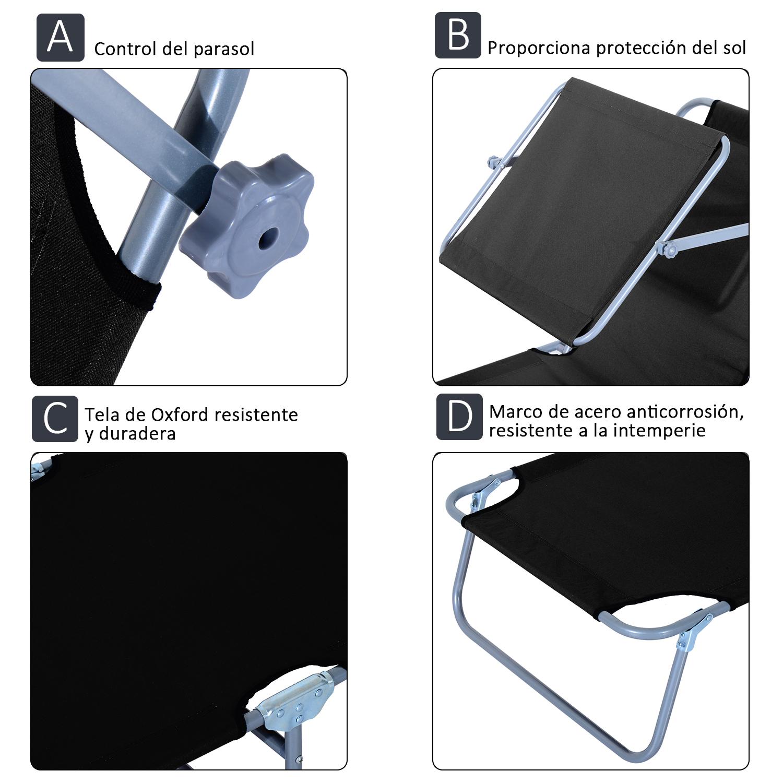 Tumbona-Inclinable-Aluminio-Plegable-Hamaca-Playa-Piscina-con-Parasol-NUEVO miniatura 27