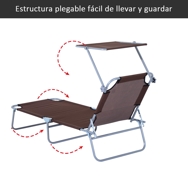 Tumbona-Inclinable-Aluminio-Plegable-Hamaca-Playa-Piscina-con-Parasol-NUEVO miniatura 16