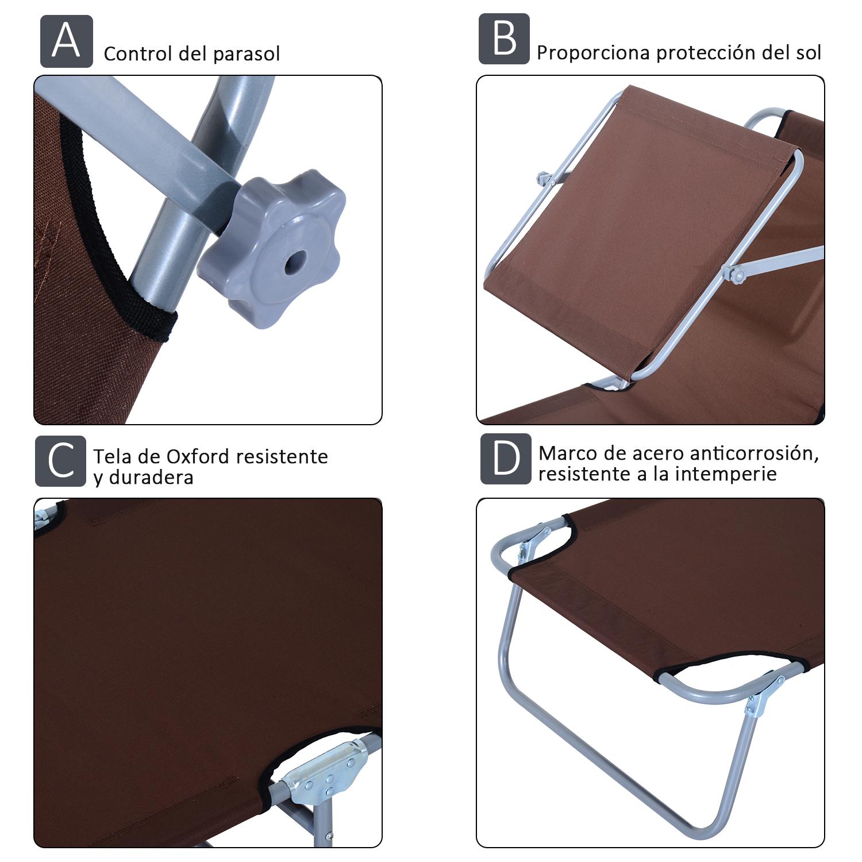 Tumbona-Inclinable-Aluminio-Plegable-Hamaca-Playa-Piscina-con-Parasol-NUEVO miniatura 17