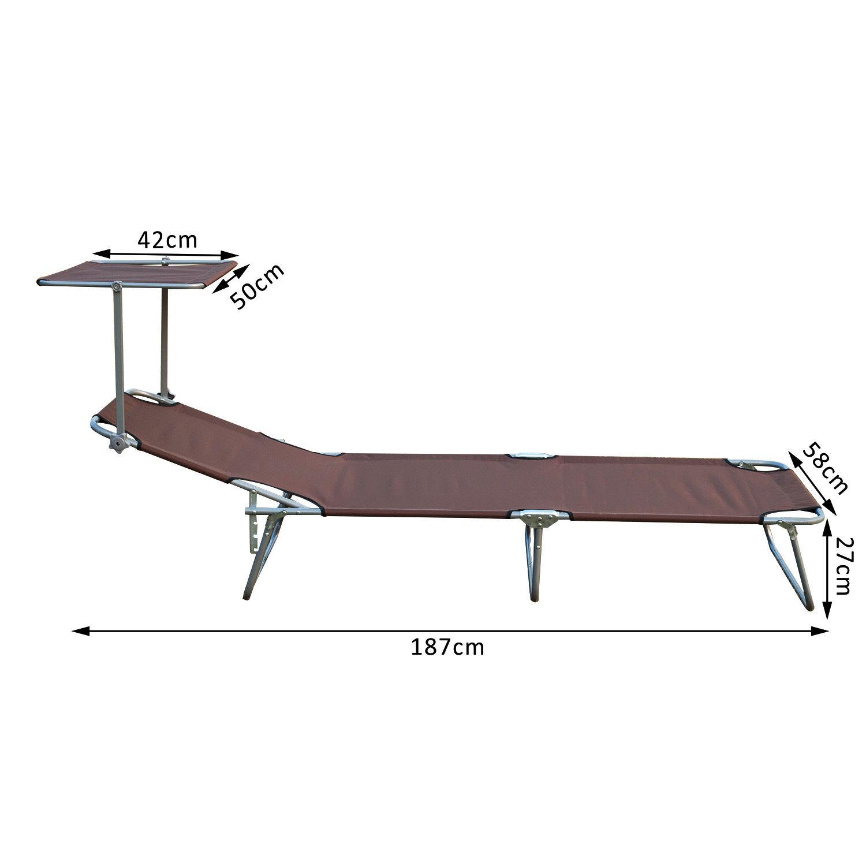 Tumbona-Inclinable-Aluminio-Plegable-Hamaca-Playa-Piscina-con-Parasol-NUEVO miniatura 19