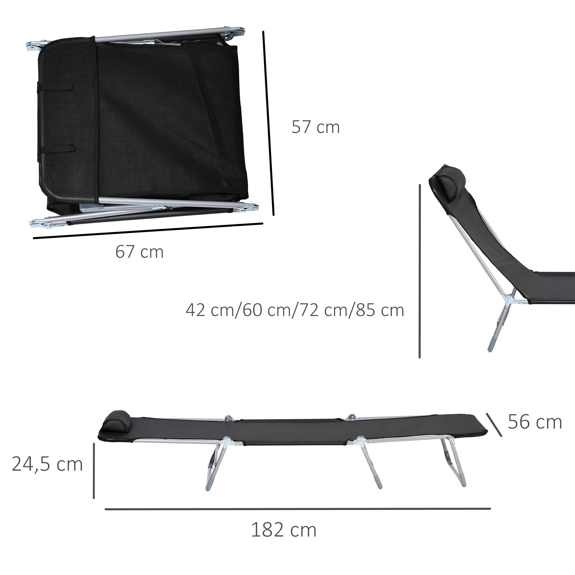 miniatura 27 - Tumbona Plegable y Reclinable con Reposacabezas y Respaldo Ajustable COLOR