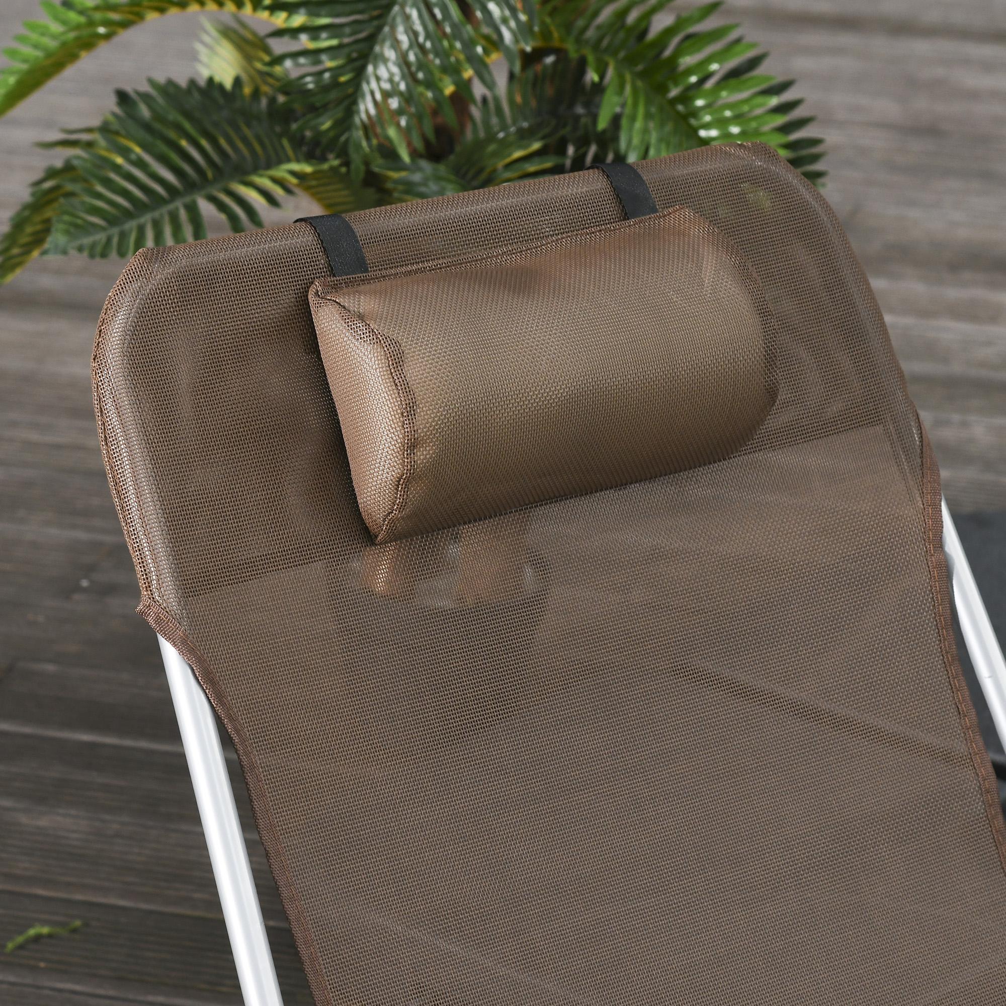 miniatura 14 - Tumbona Plegable y Reclinable con Reposacabezas y Respaldo Ajustable COLOR
