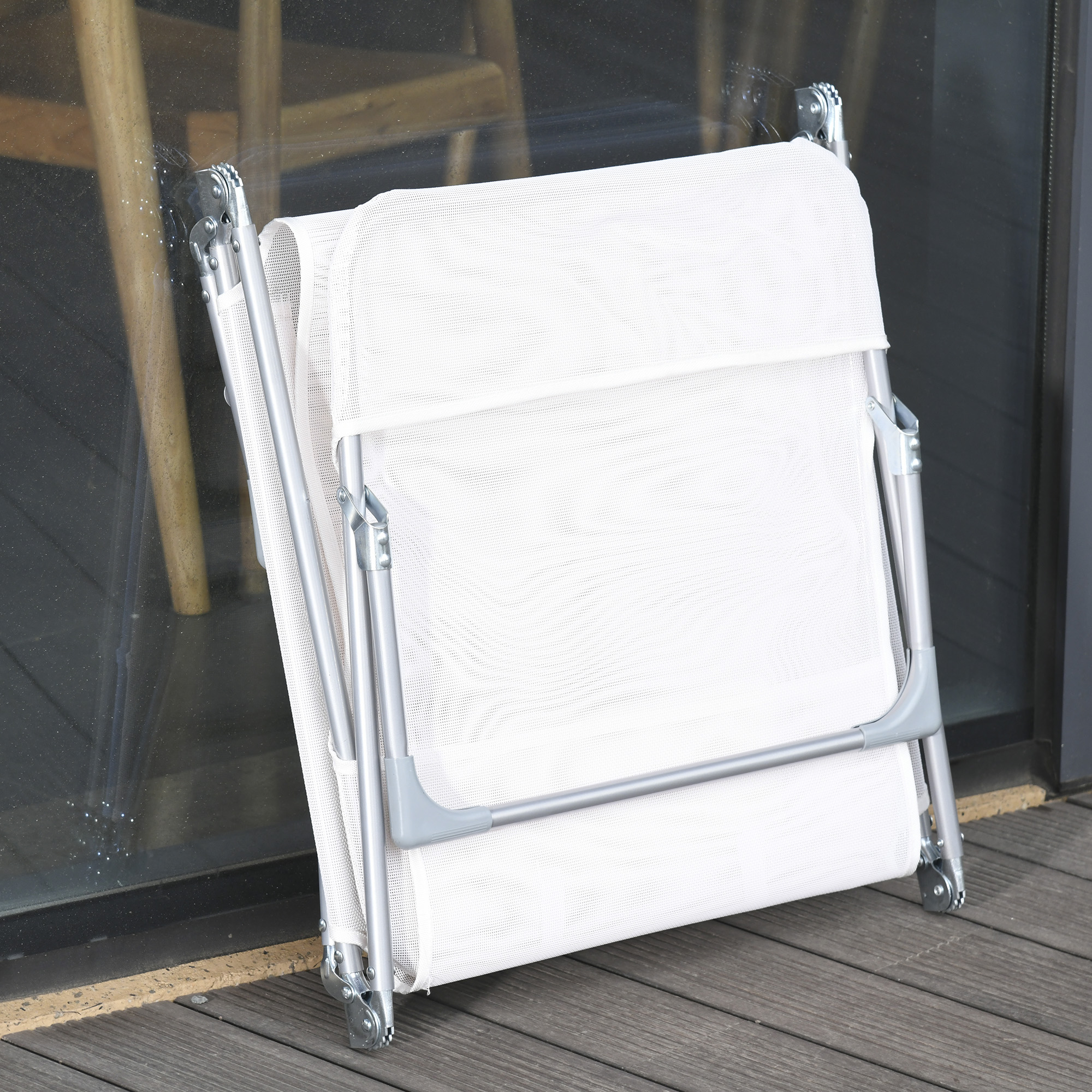 miniatura 5 - Tumbona Plegable y Reclinable con Reposacabezas y Respaldo Ajustable COLOR
