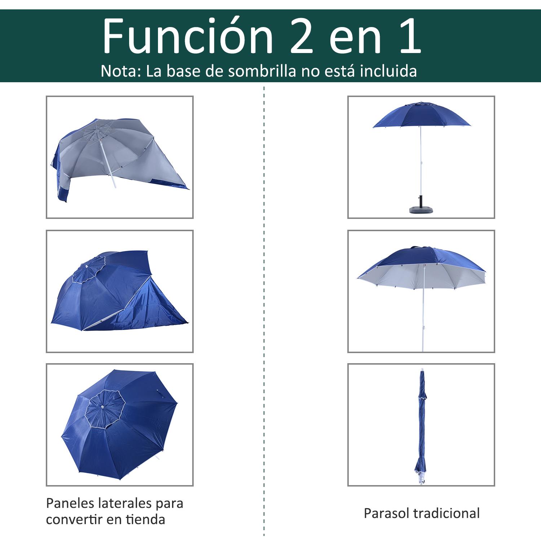 Sombrilla-de-Playa-Portatil-con-Paravientos-Tienda-Camping-Parasol-Proteccion-UV miniatura 4