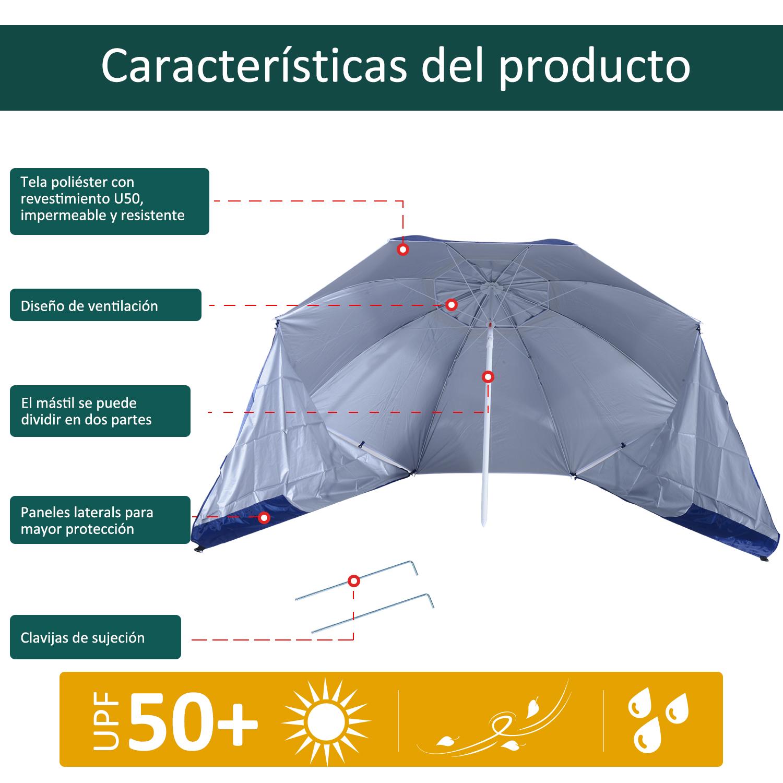 Sombrilla-de-Playa-Portatil-con-Paravientos-Tienda-Camping-Parasol-Proteccion-UV miniatura 6