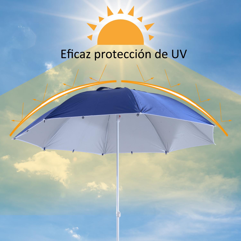 Sombrilla-de-Playa-Portatil-con-Paravientos-Tienda-Camping-Parasol-Proteccion-UV miniatura 7