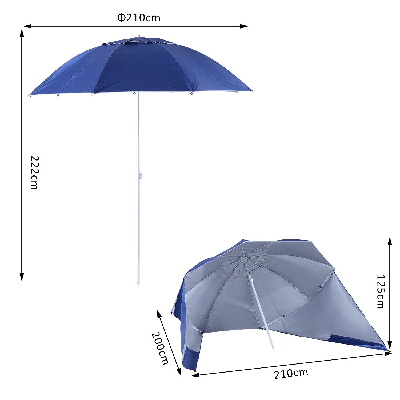 Sombrilla-de-Playa-Portatil-con-Paravientos-Tienda-Camping-Parasol-Proteccion-UV miniatura 8