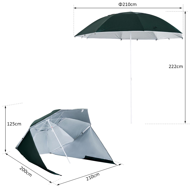Sombrilla-de-Playa-Portatil-con-Paravientos-Tienda-Camping-Parasol-Proteccion-UV miniatura 20
