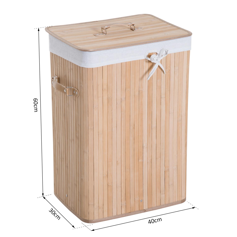Cesto-para-Ropa-Sucia-Plegable-con-Tapa-Cubo-para-Colada-Rectangular-Bambu-70L miniatura 8