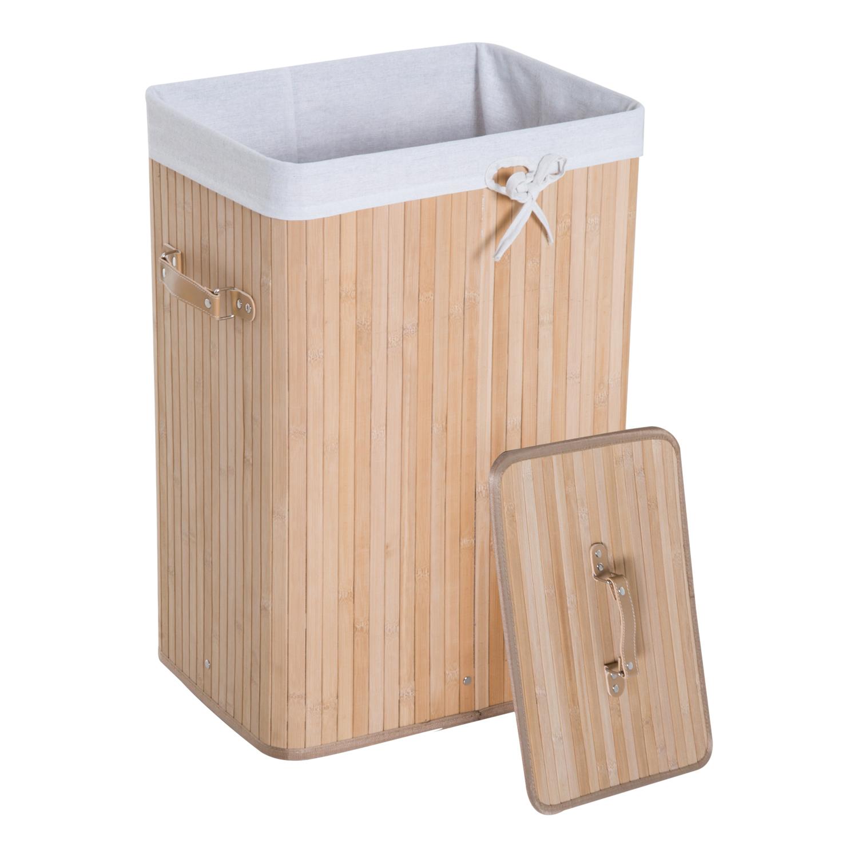 Cesto-para-Ropa-Sucia-Plegable-con-Tapa-Cubo-para-Colada-Rectangular-Bambu-70L miniatura 6
