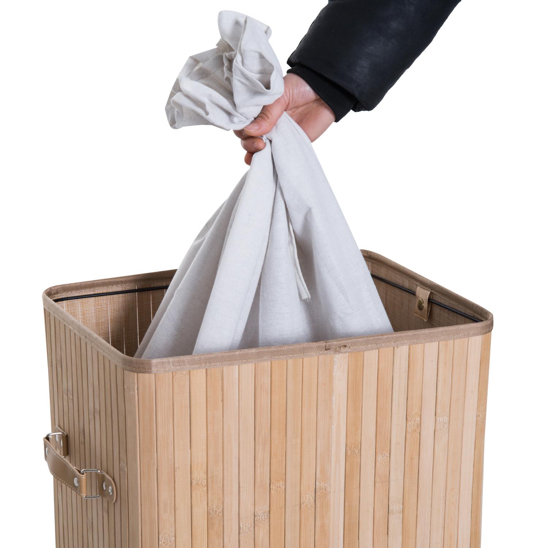 Cesto-para-Ropa-Sucia-Plegable-con-Tapa-Cubo-para-Colada-Rectangular-Bambu-70L miniatura 5