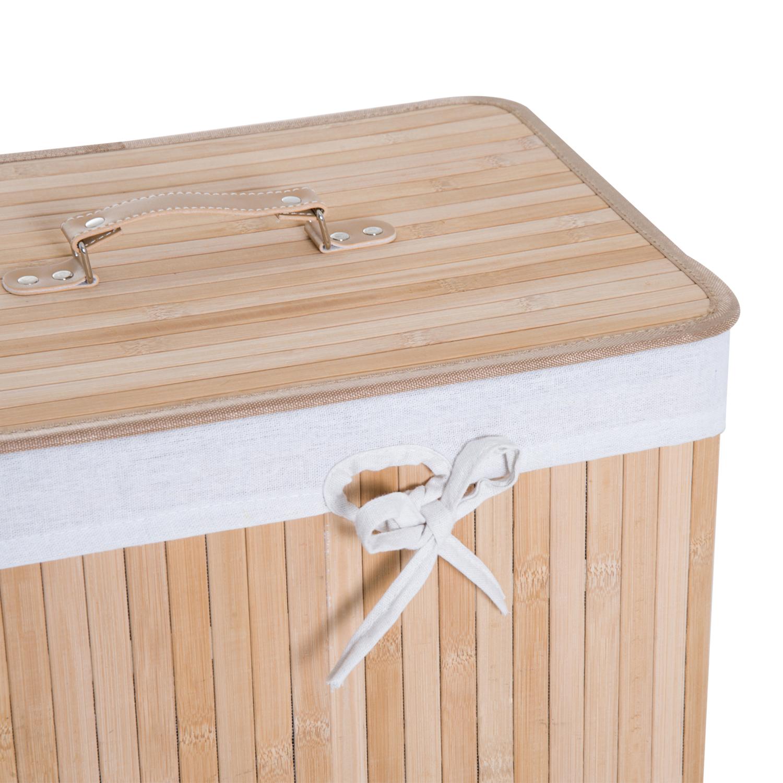 Cesto-para-Ropa-Sucia-Plegable-con-Tapa-Cubo-para-Colada-Rectangular-Bambu-70L miniatura 9