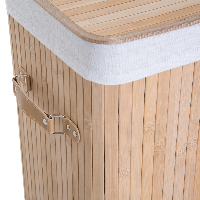 Cesto-para-Ropa-Sucia-Plegable-con-Tapa-Cubo-para-Colada-Rectangular-Bambu-70L miniatura 7