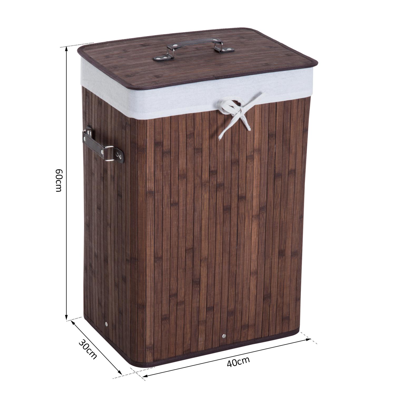 Cesto-para-Ropa-Sucia-Plegable-con-Tapa-Cubo-para-Colada-Rectangular-Bambu-70L miniatura 20