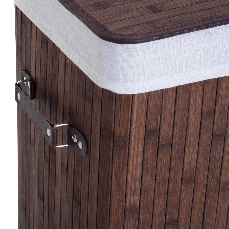 Cesto-para-Ropa-Sucia-Plegable-con-Tapa-Cubo-para-Colada-Rectangular-Bambu-70L miniatura 19