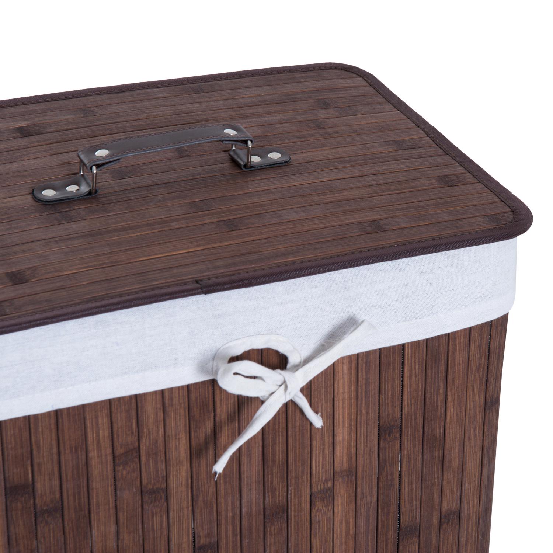 Cesto-para-Ropa-Sucia-Plegable-con-Tapa-Cubo-para-Colada-Rectangular-Bambu-70L miniatura 18