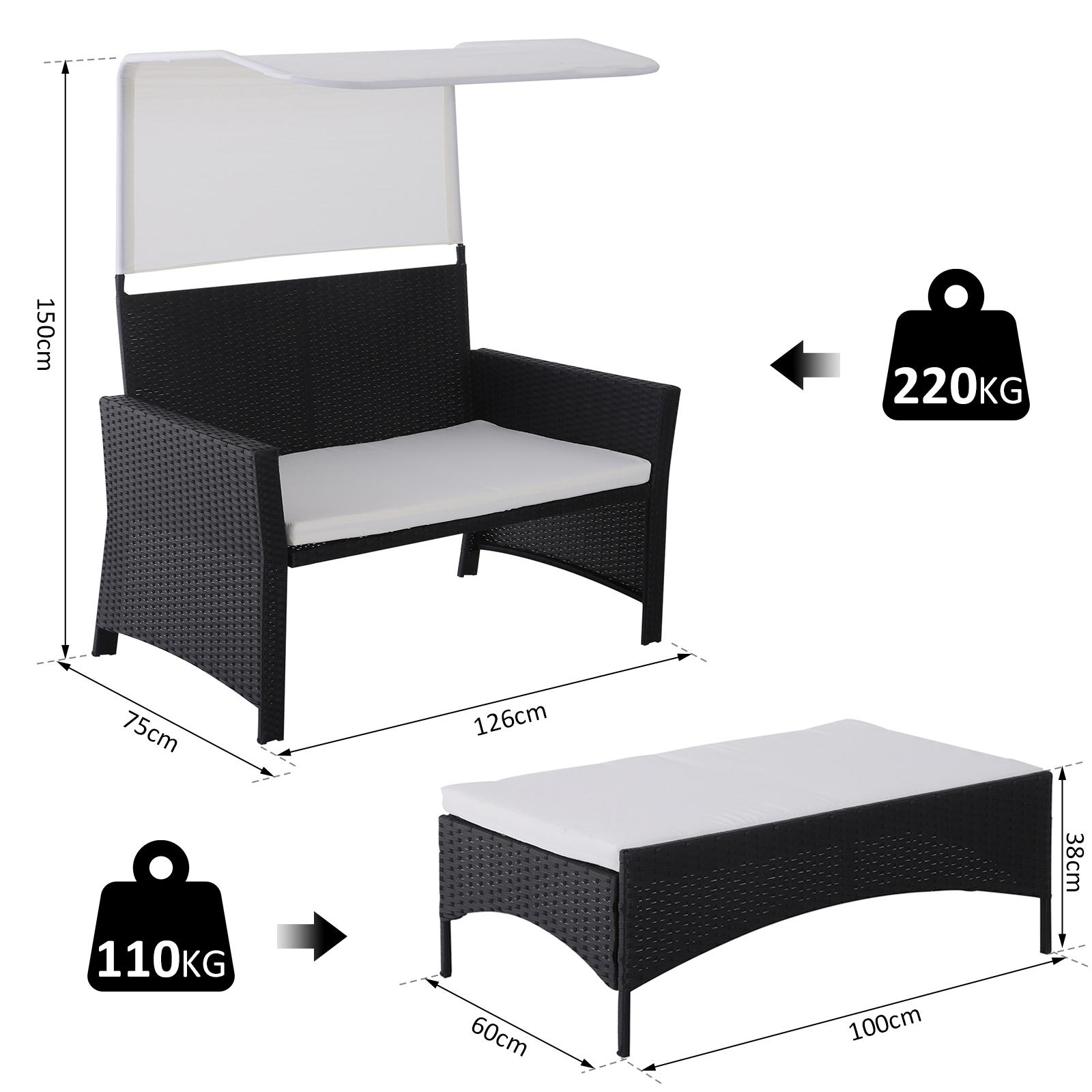 Sofa-de-Ratan-Dos-Plazas-Sillon-Mueble-Jardin-Terraza-con-Reposapies-Toldo-Cojin miniatura 19