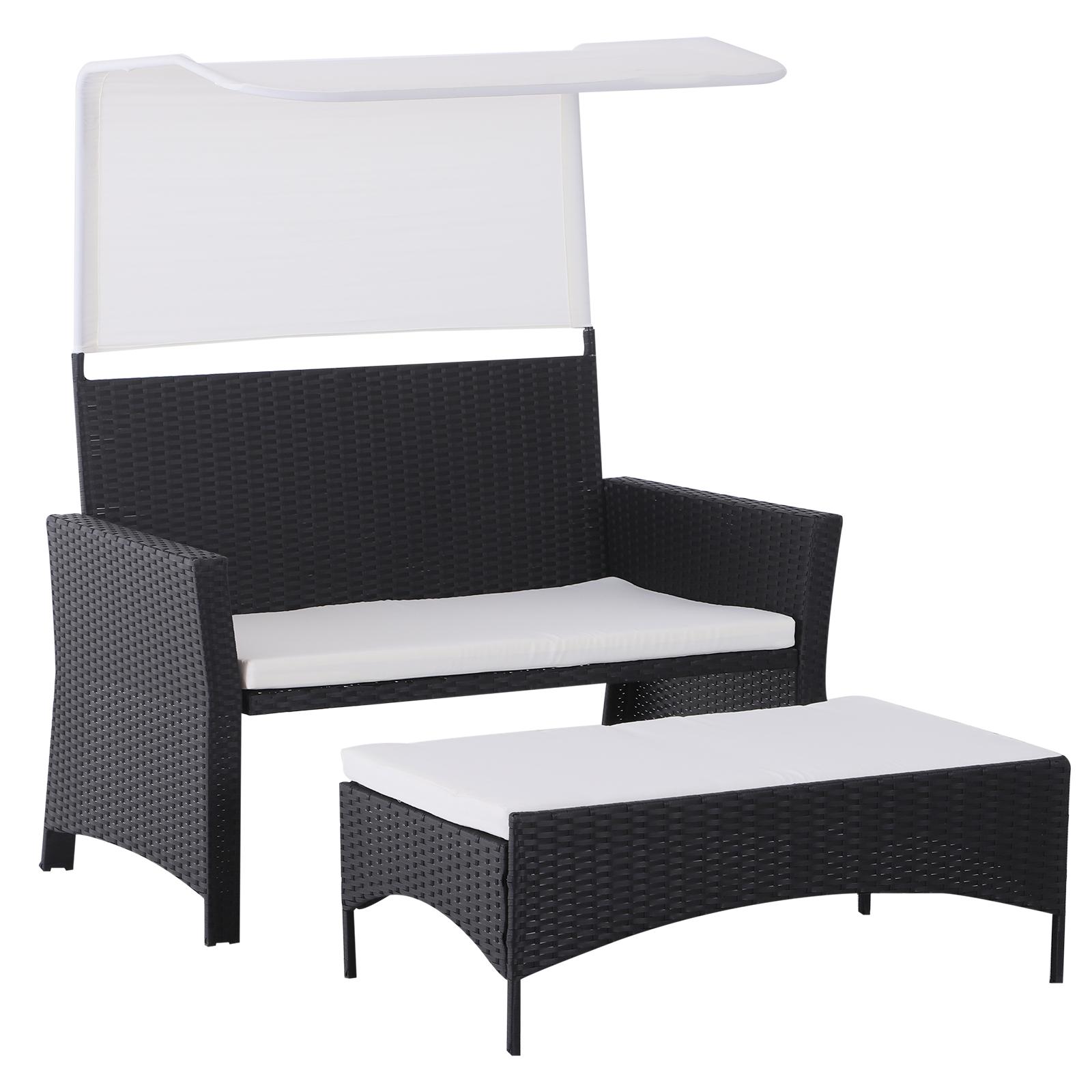 Sofa-de-Ratan-Dos-Plazas-Sillon-Mueble-Jardin-Terraza-con-Reposapies-Toldo-Cojin miniatura 23