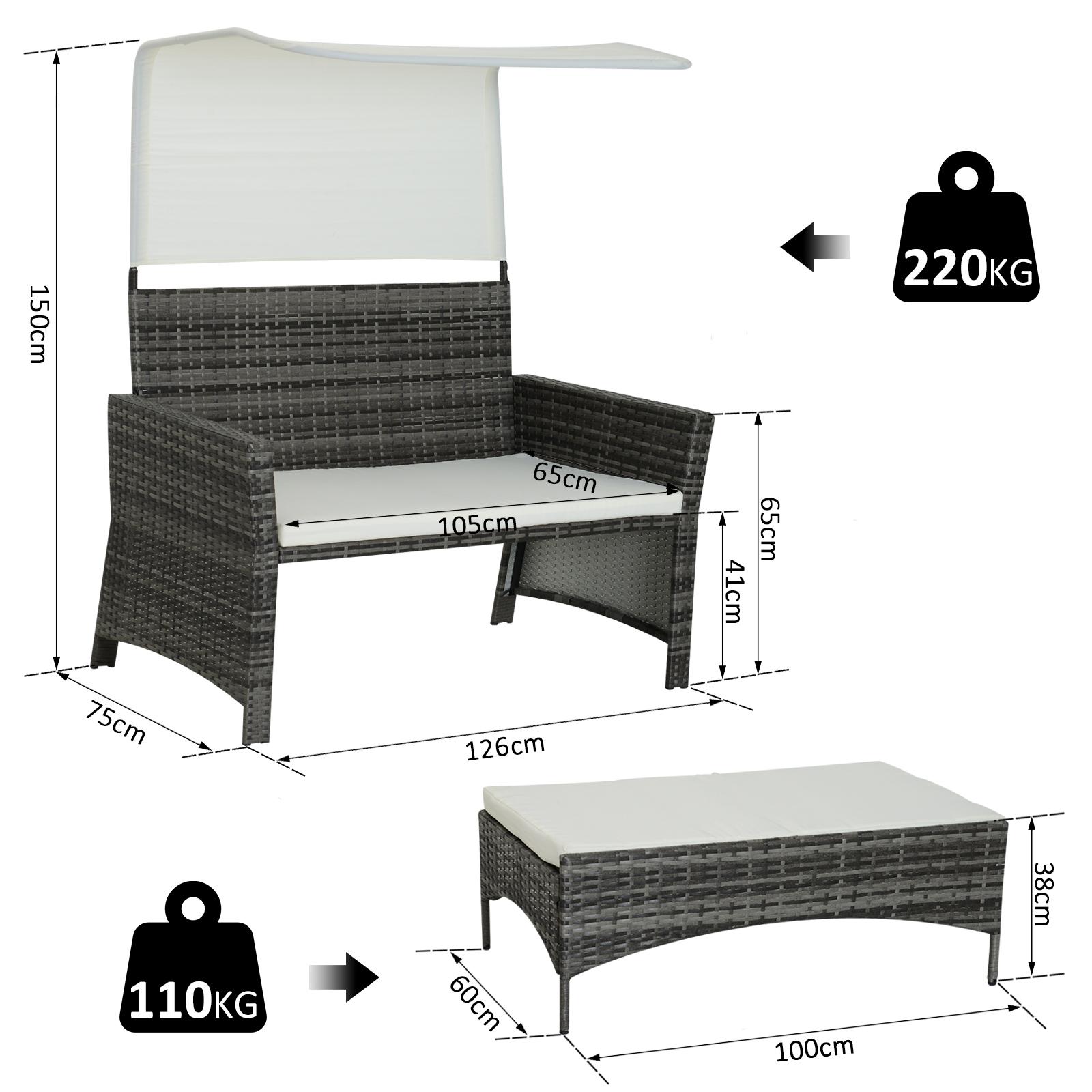 Sofa-de-Ratan-Dos-Plazas-Sillon-Mueble-Jardin-Terraza-con-Reposapies-Toldo-Cojin miniatura 8