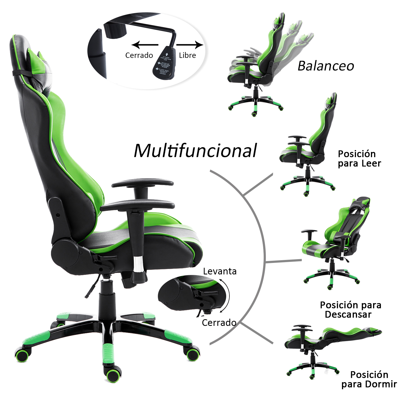Racing-Silla-de-Oficina-Escritorio-Silla-Gaming-Ergonomica-Elevable-y-Reclinable