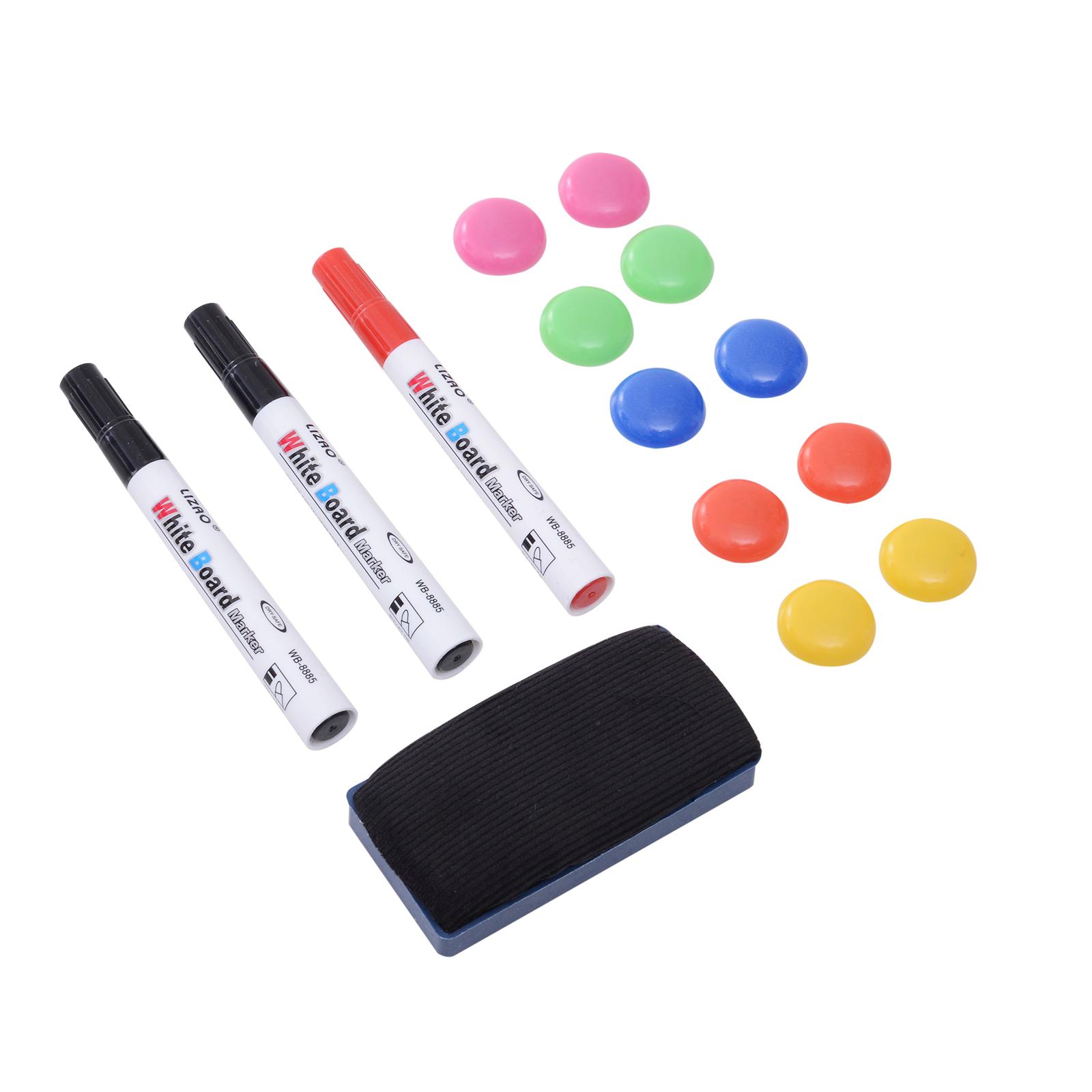 3 rotuladores pizarra blanca con iman y borrador rojo negro azul  *Envío GRATIS