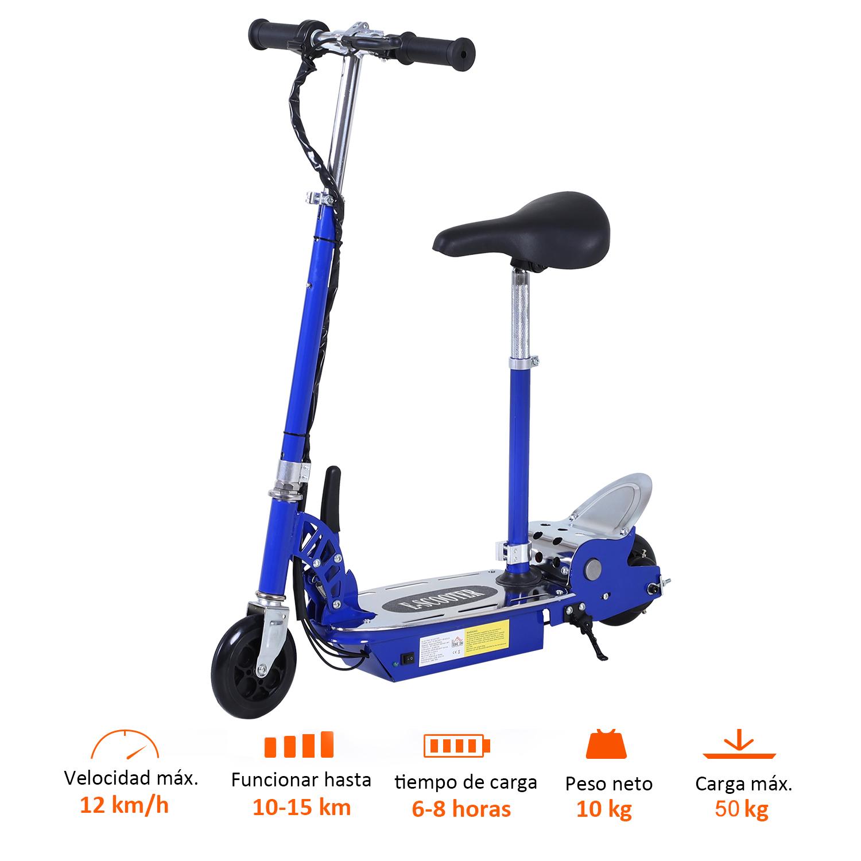 Patinete-Electrico-Plegable-E-Scooter-Bateria-120W-Manillar-Asiento-Ajustable miniatura 39