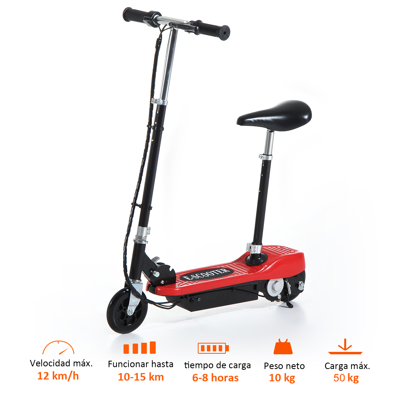 Patinete-Electrico-Plegable-E-Scooter-Bateria-120W-Manillar-Asiento-Ajustable miniatura 27