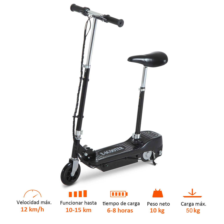 Patinete-Electrico-Plegable-E-Scooter-Bateria-120W-Manillar-Asiento-Ajustable miniatura 16