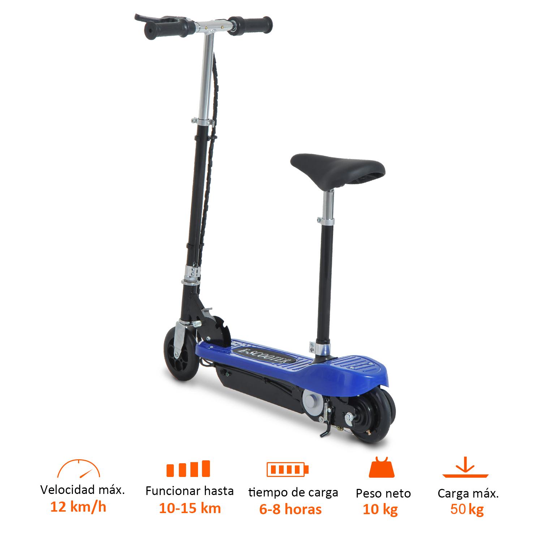 Patinete-Electrico-Plegable-E-Scooter-Bateria-120W-Manillar-Asiento-Ajustable miniatura 4