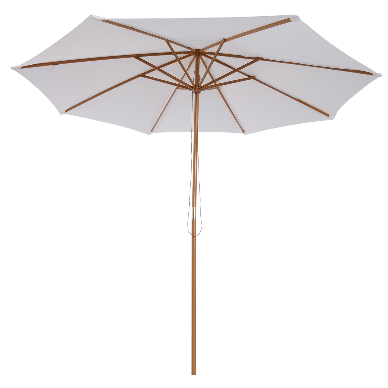 Outsunny-Parasol-Rond-3-x-2-5m-Jardin-Balcon-Bois-de-Bambou-8-entretoises miniature 11