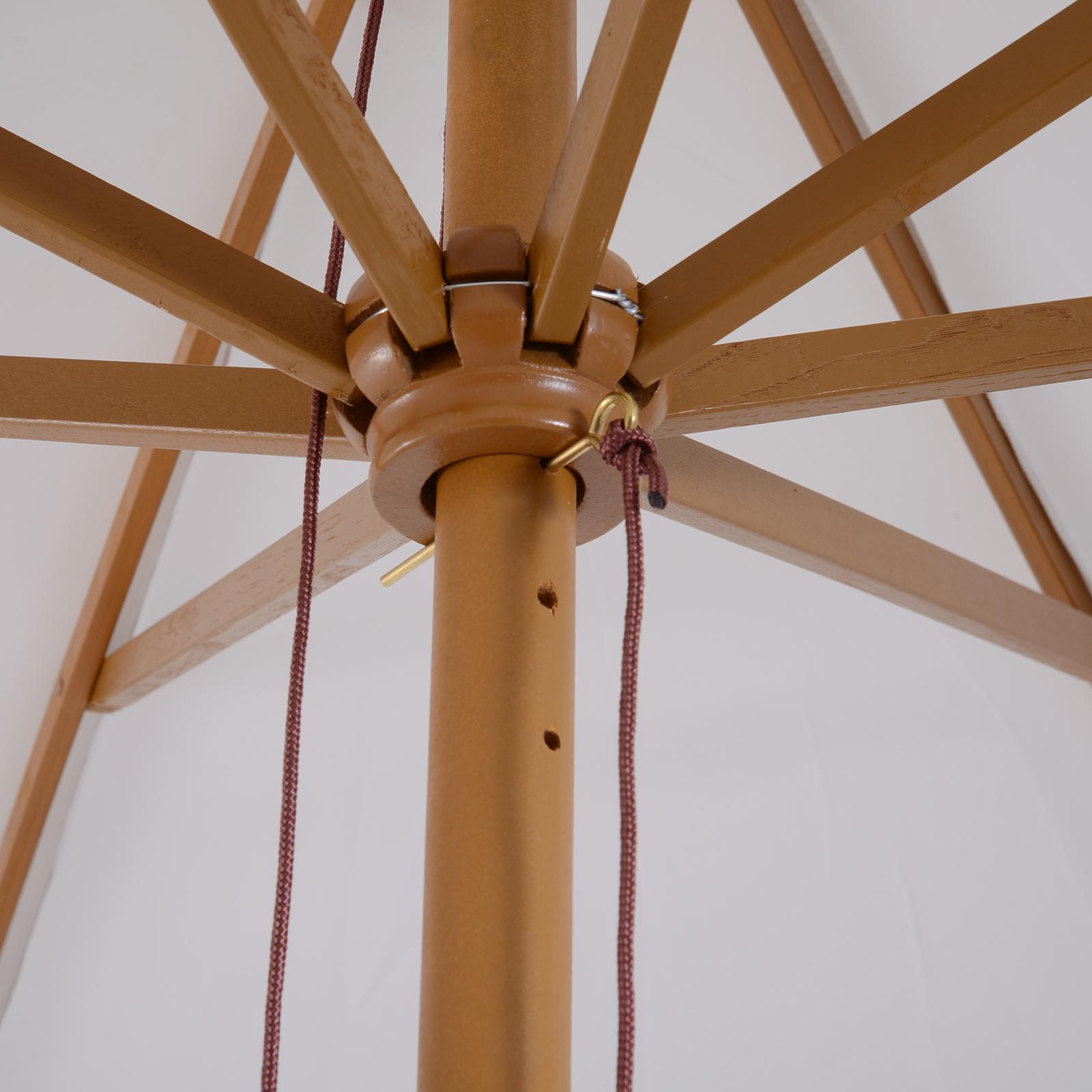 Outsunny-Parasol-Rond-3-x-2-5m-Jardin-Balcon-Bois-de-Bambou-8-entretoises miniature 15