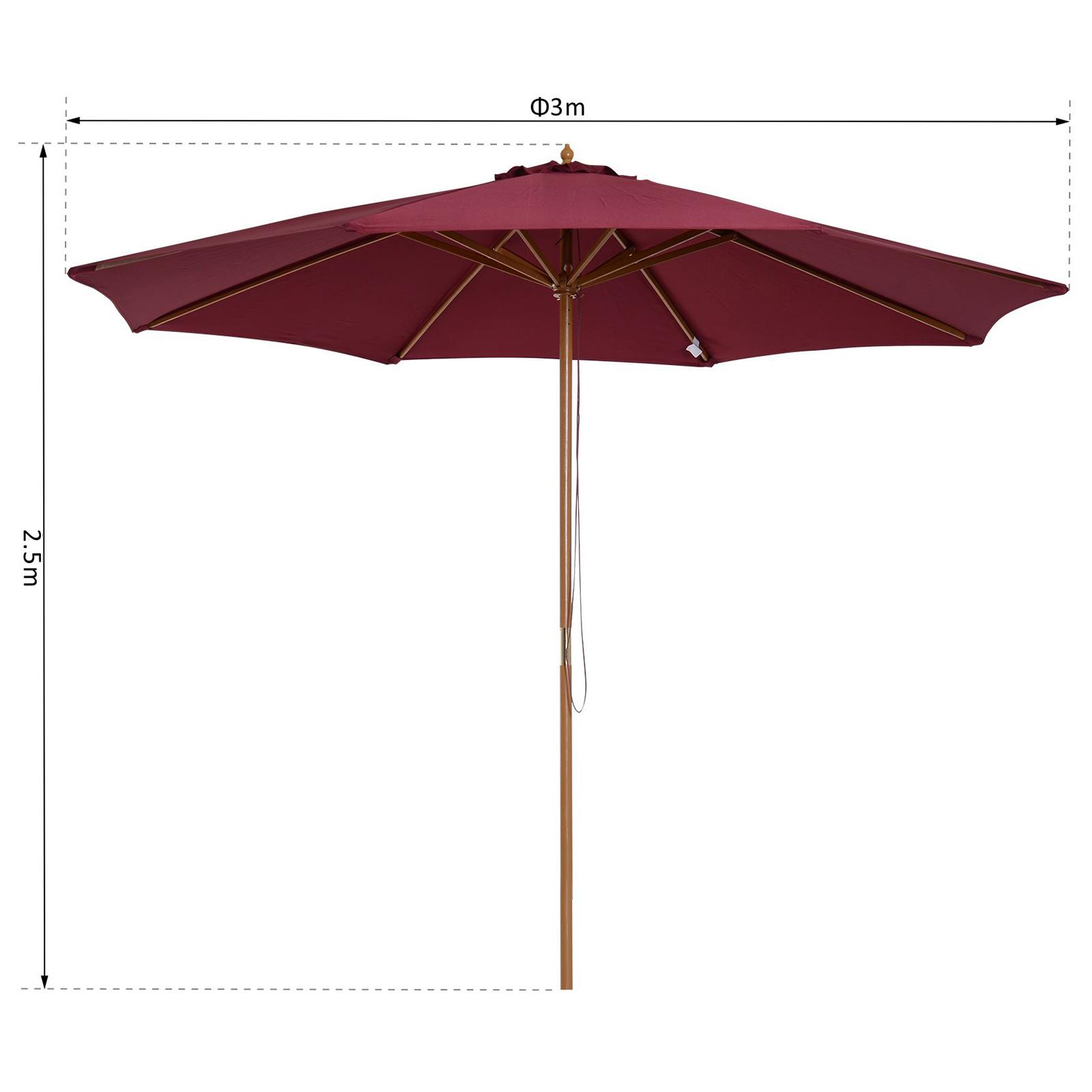 Outsunny-Parasol-Rond-3-x-2-5m-Jardin-Balcon-Bois-de-Bambou-8-entretoises miniature 19