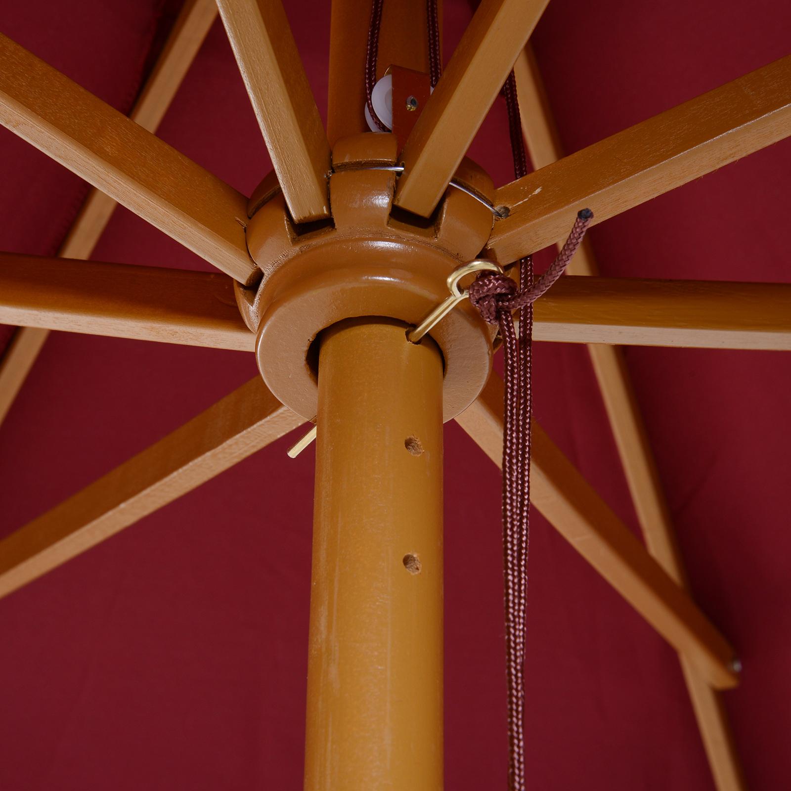 Outsunny-Parasol-Rond-3-x-2-5m-Jardin-Balcon-Bois-de-Bambou-8-entretoises miniature 23